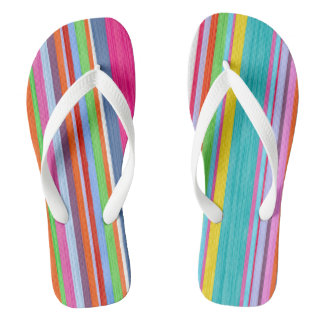 Watercolor funny stripes flip flops