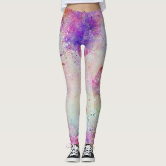 Watercolor Galaxy Purple Pattern Leggings