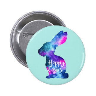 Watercolor Galaxy Rabbit Easter 6 Cm Round Badge