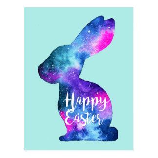 Watercolor Galaxy Rabbit Easter Postcard