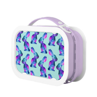 Watercolor Galaxy Rabbit Pattern Lunch Boxes