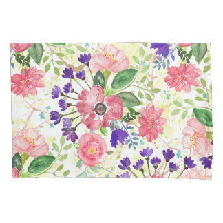 Watercolor garden flowers pillowcase