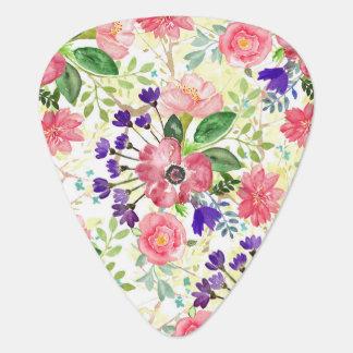 Watercolor garden flowers plectrum