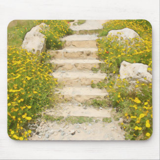 Watercolor garden mouse pad