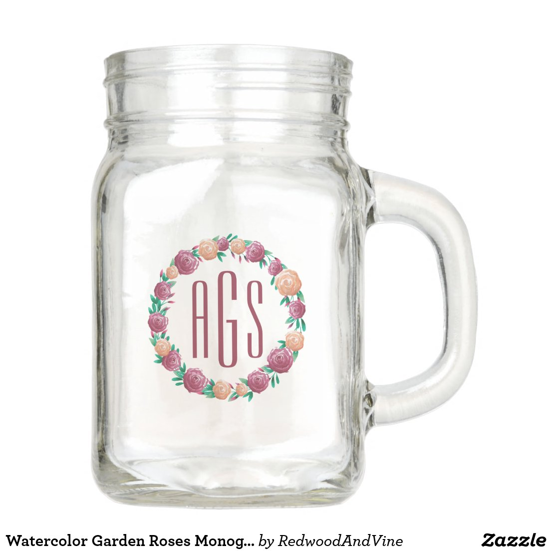 Watercolor Garden Roses Monogram Mason Jar