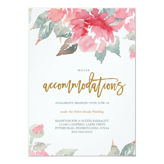WATERCOLOR GARDEN WEDDING hotel card