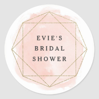 Watercolor geo faux glitter bridal shower sticker