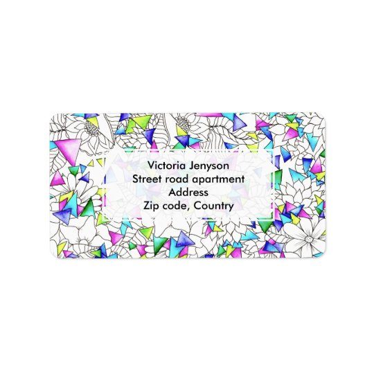 Watercolor geometric triangles floral illustration address label