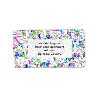 Watercolor geometric triangles floral illustration label