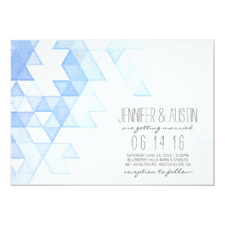 Watercolor Geometric Triangles | Modern Wedding Card
