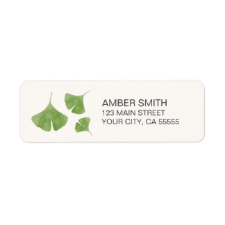 Watercolor Ginkgo Leaf Trio Nature Themed Return Address Label