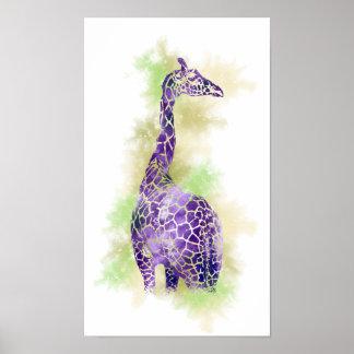 Watercolor Giraffe 1 Poster
