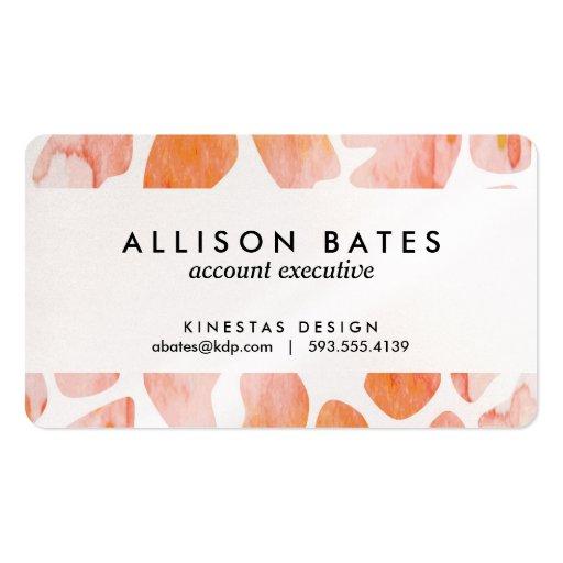 Watercolor Giraffe Pattern orange peach coral Business Cards