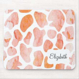 Watercolor Giraffe Pattern orange peach coral Mouse Mat