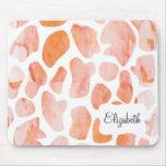Watercolor Giraffe Pattern orange peach coral Mousepad
