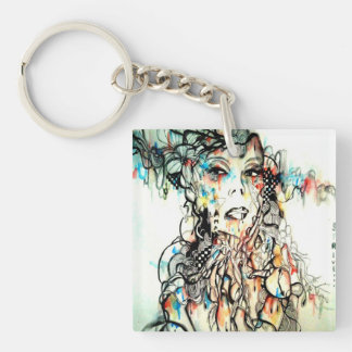 Watercolor girl Art, Pop Surreal Keychain