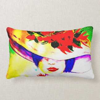 Watercolor Girl with Chilli Hat Cushion