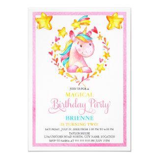 Watercolor Girl's Unicorn Birthday Party 13 Cm X 18 Cm Invitation Card