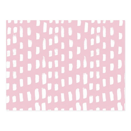 Watercolor girly pink white brushstrokes pattern postcard