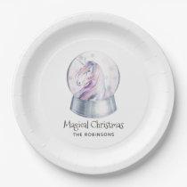Watercolor Glitter Unicorn Christmas Paper Plate