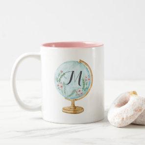 Watercolor Globe Monogram Two-Tone Coffee Mug