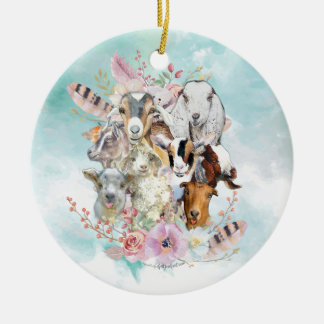 Watercolor GOAT Breeds Collage | GetYerGoat™ Christmas Ornament