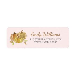 Watercolor Gold Pink Pumpkin Fall Label