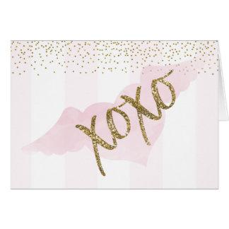 Watercolor Gold XOXO Valentine Card