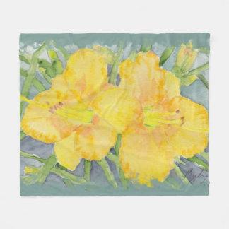 Watercolor Golden Daylilies Fleece Blanket