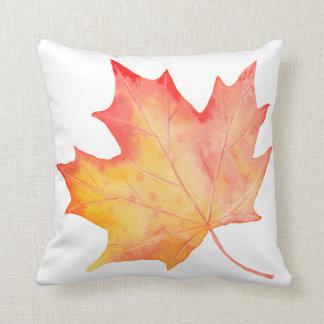 Watercolor Golden Maple Leaf Cushion