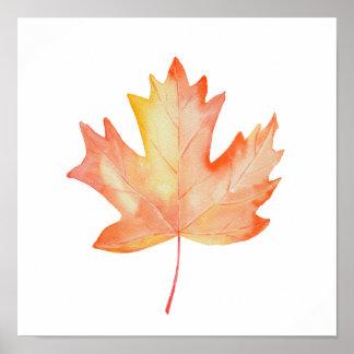 Watercolor Golden Maple Leaf Poster
