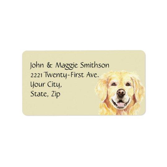 Watercolor Golden Retriever Dog Pet Animal Address Address Label