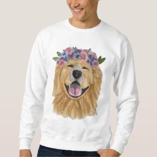 Watercolor Golden Retriever Flowercrown Sweatshirt