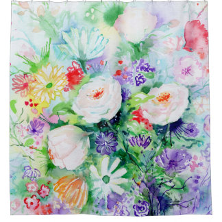 Watercolor Good Mood Flowers Shower Curtain