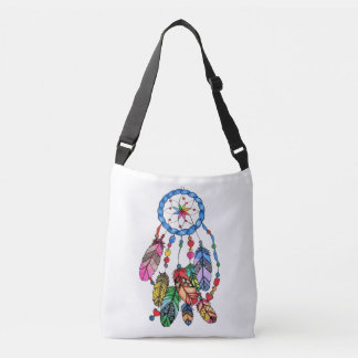 Watercolor gorgeous rainbow dream catcher crossbody bag