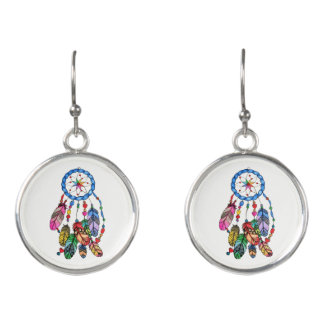 Watercolor gorgeous rainbow dream catcher earrings