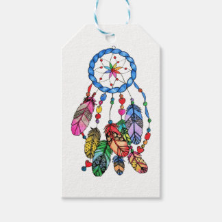Watercolor gorgeous rainbow dream catcher gift tags