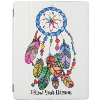 Watercolor gorgeous rainbow dream catcher iPad cover