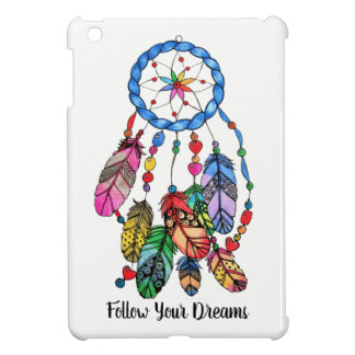 Watercolor gorgeous rainbow dream catcher iPad mini case