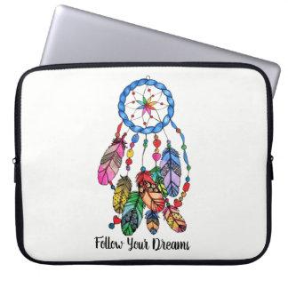 Watercolor gorgeous rainbow dream catcher laptop sleeve