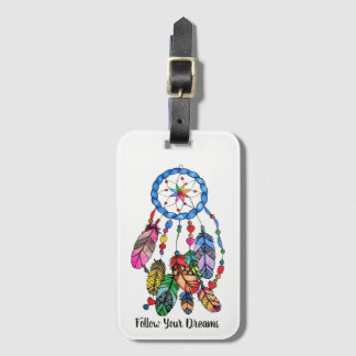 Watercolor gorgeous rainbow dream catcher luggage tag