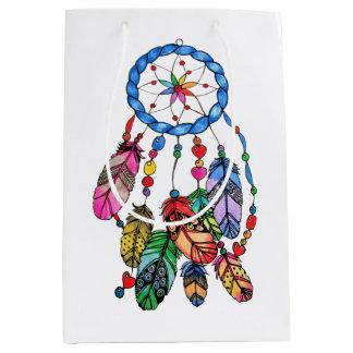 Watercolor gorgeous rainbow dream catcher medium gift bag