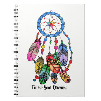 Watercolor gorgeous rainbow dream catcher notebooks
