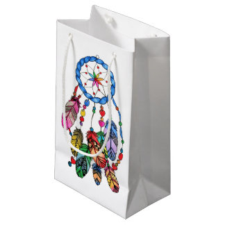Watercolor gorgeous rainbow dream catcher small gift bag