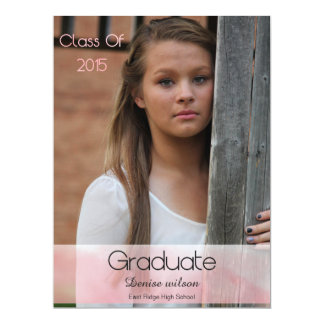 Watercolor Graduation Photo Invitation