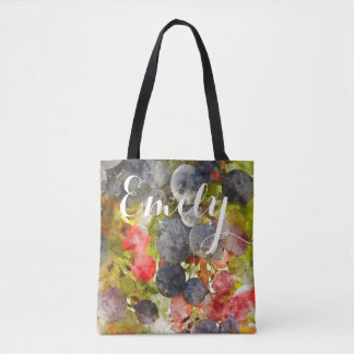 Watercolor Grapes Tote Bag