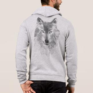 Watercolor Gray Wolf Light Zip Hoodie