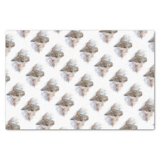 Watercolor Great Gray Owl Bird Nature Art Tissue Paper