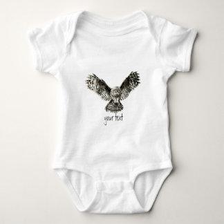 Watercolor Great Gray Owl, Nature Bird Baby Bodysuit