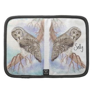 Watercolor Great Grey, Gray Owl Bird Planner